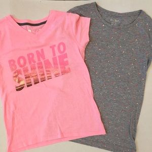 Other - GIRLS 14 16 T SHIRTS PINK GRAY LARGE ATHLETIC EUC